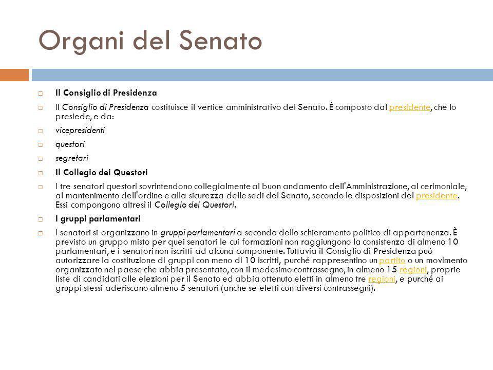 Organi del Senato Il Consiglio di Presidenza