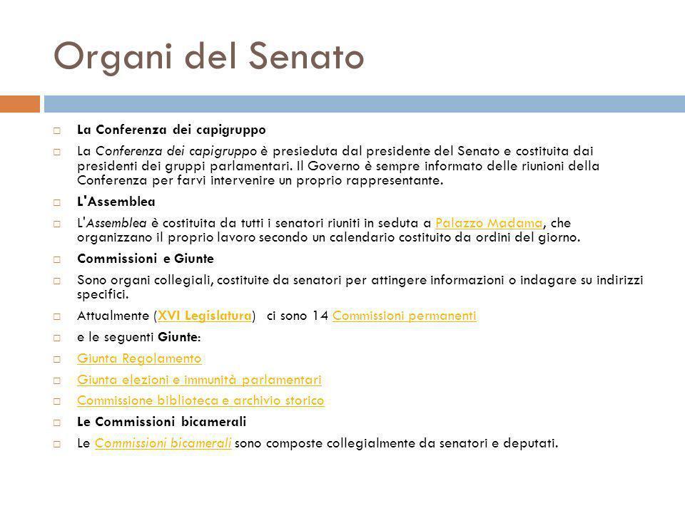 Organi del Senato La Conferenza dei capigruppo