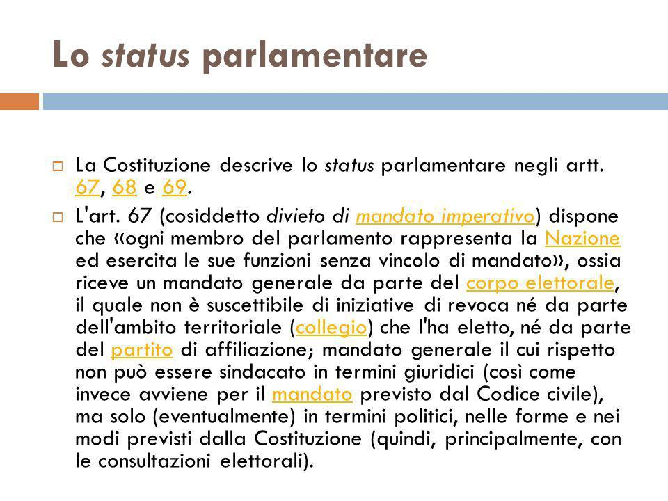 Lo status parlamentare
