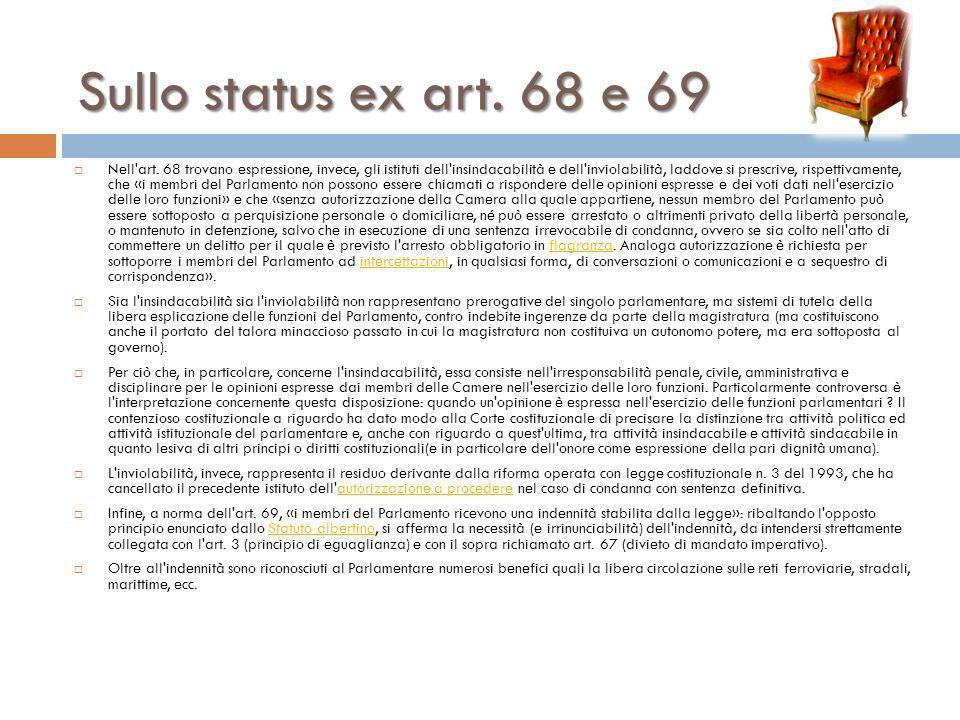 Sullo status ex art. 68 e 69