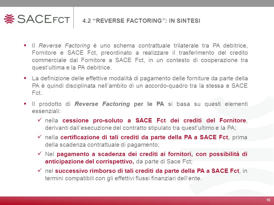 4.2 REVERSE FACTORING : IN SINTESI