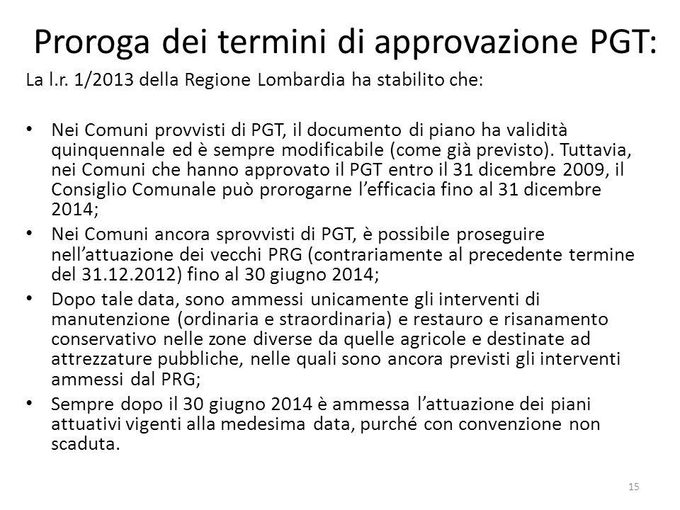 Proroga dei termini di approvazione PGT: