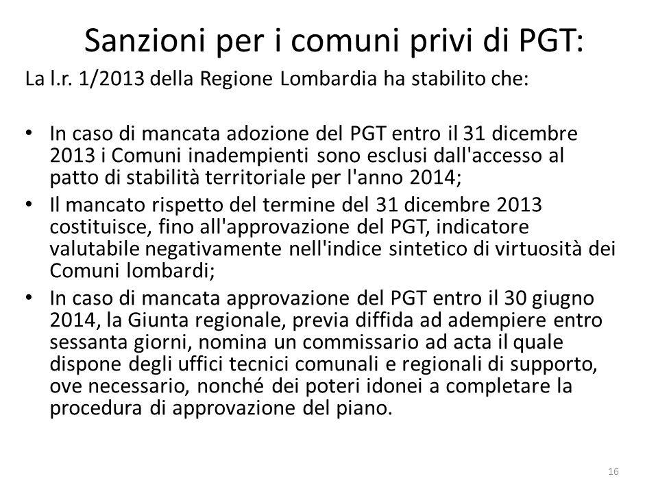 Sanzioni per i comuni privi di PGT: