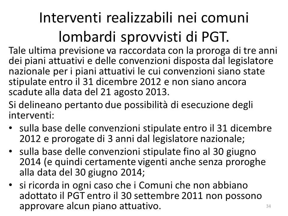 Interventi realizzabili nei comuni lombardi sprovvisti di PGT.