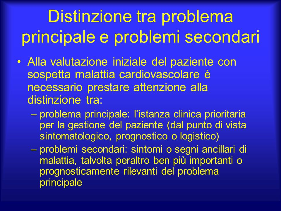 Distinzione tra problema principale e problemi secondari