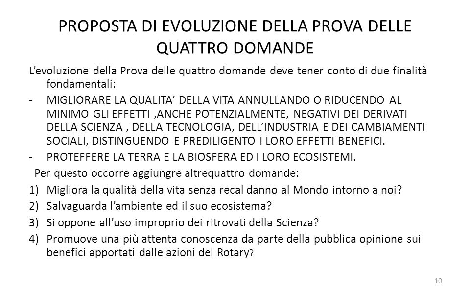 PROPOSTA DI EVOLUZIONE DELLA PROVA DELLE QUATTRO DOMANDE