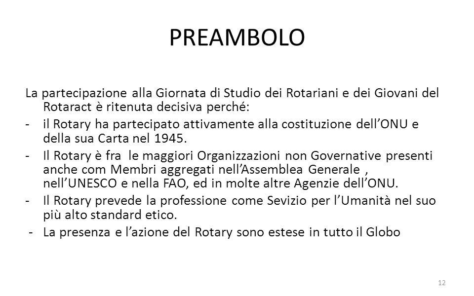 PREAMBOLO La partecipazione alla Giornata di Studio dei Rotariani e dei Giovani del Rotaract è ritenuta decisiva perché: