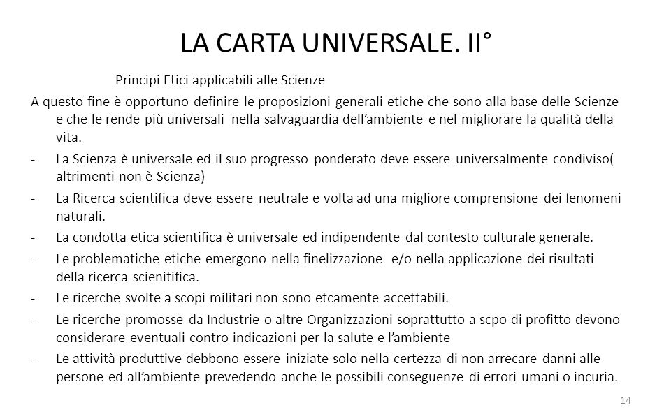 LA CARTA UNIVERSALE. II°