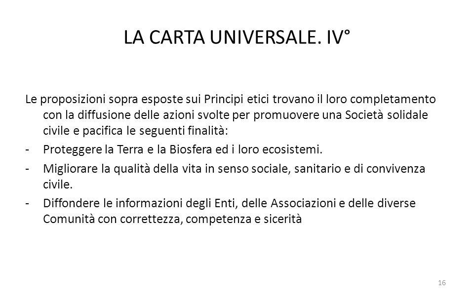 LA CARTA UNIVERSALE. IV°