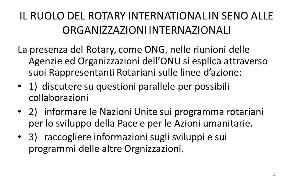 IL RUOLO DEL ROTARY INTERNATIONAL IN SENO ALLE ORGANIZZAZIONI INTERNAZIONALI