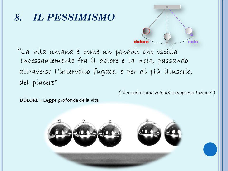 8. IL PESSIMISMO La vita umana è come un pendolo che oscilla incessantemente fra il dolore e la noia, passando.