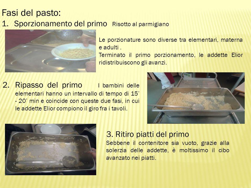 Fasi del pasto: Sporzionamento del primo Risotto al parmigiano
