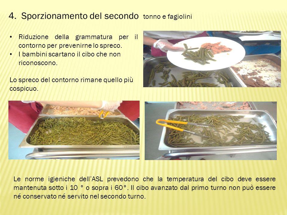 4. Sporzionamento del secondo tonno e fagiolini