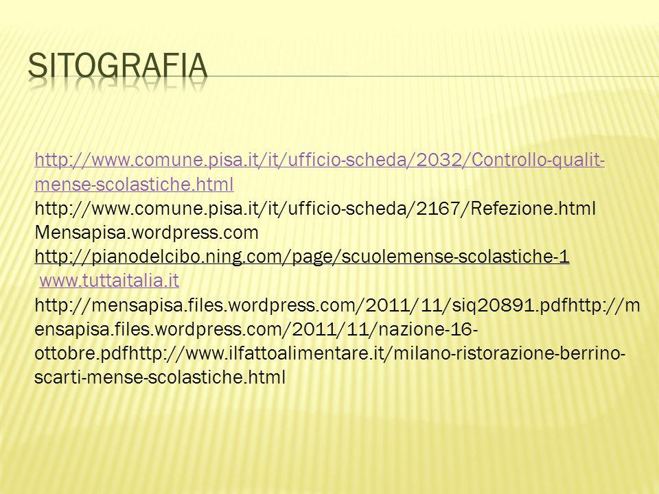 Sitografia http://www.comune.pisa.it/it/ufficio-scheda/2032/Controllo-qualit-mense-scolastiche.html.