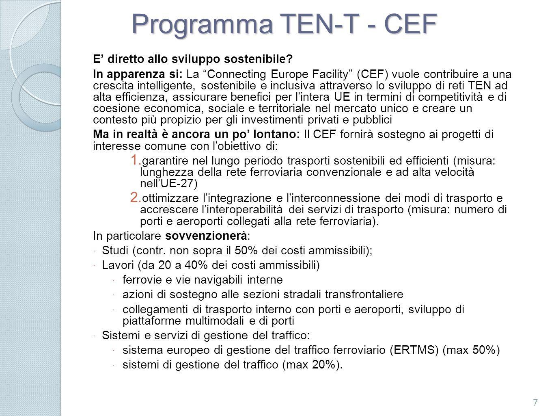 Programma TEN-T - CEF E' diretto allo sviluppo sostenibile