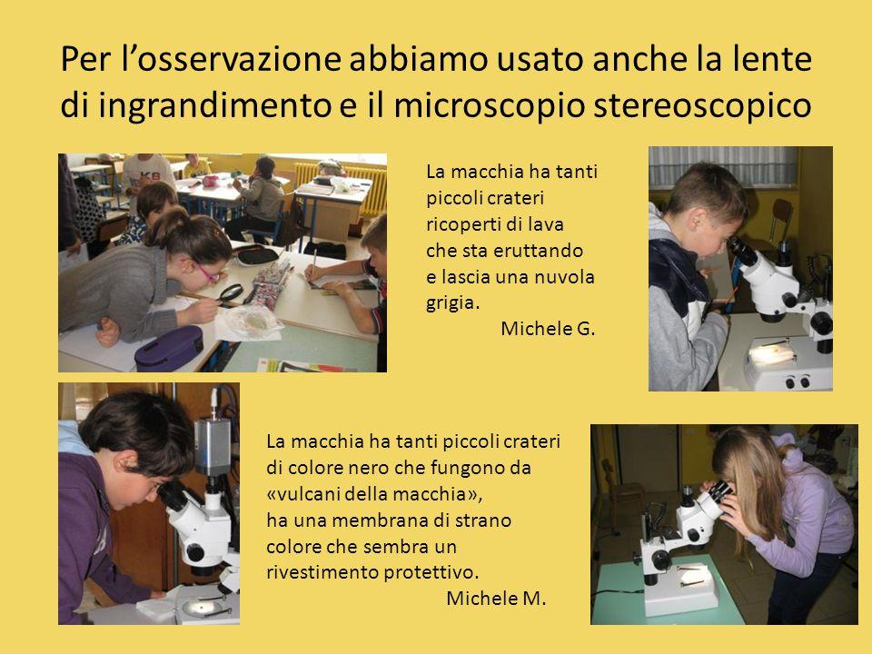 Per l'osservazione abbiamo usato anche la lente di ingrandimento e il microscopio stereoscopico