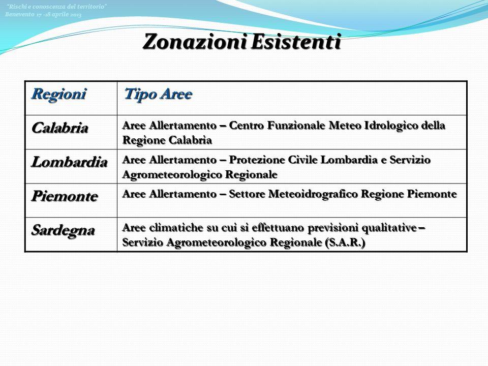 Zonazioni Esistenti Regioni Tipo Aree Calabria Lombardia Piemonte