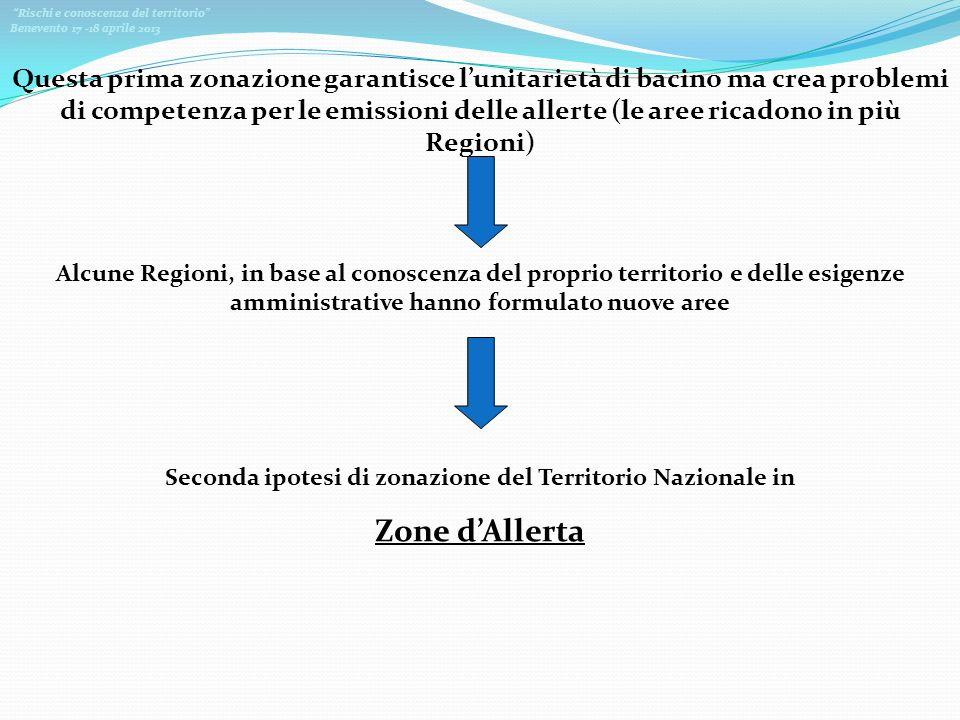 Seconda ipotesi di zonazione del Territorio Nazionale in