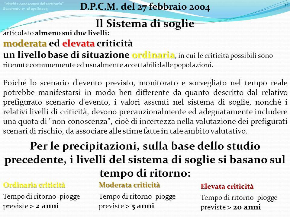 D.P.C.M. del 27 febbraio 2004 Il Sistema di soglie. articolato almeno sui due livelli: moderata ed elevata criticità.