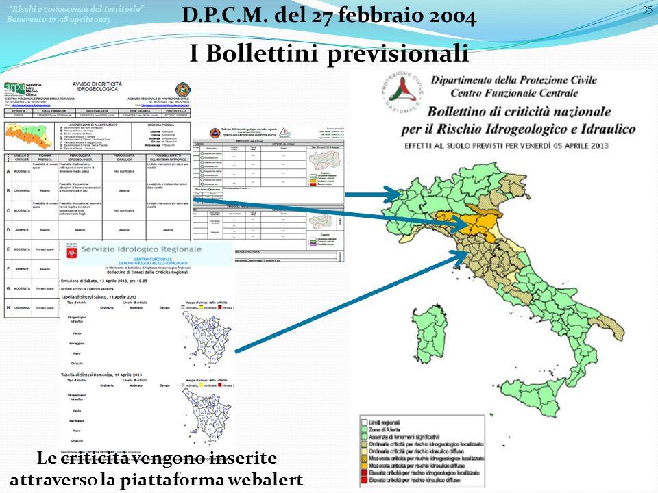 I Bollettini previsionali