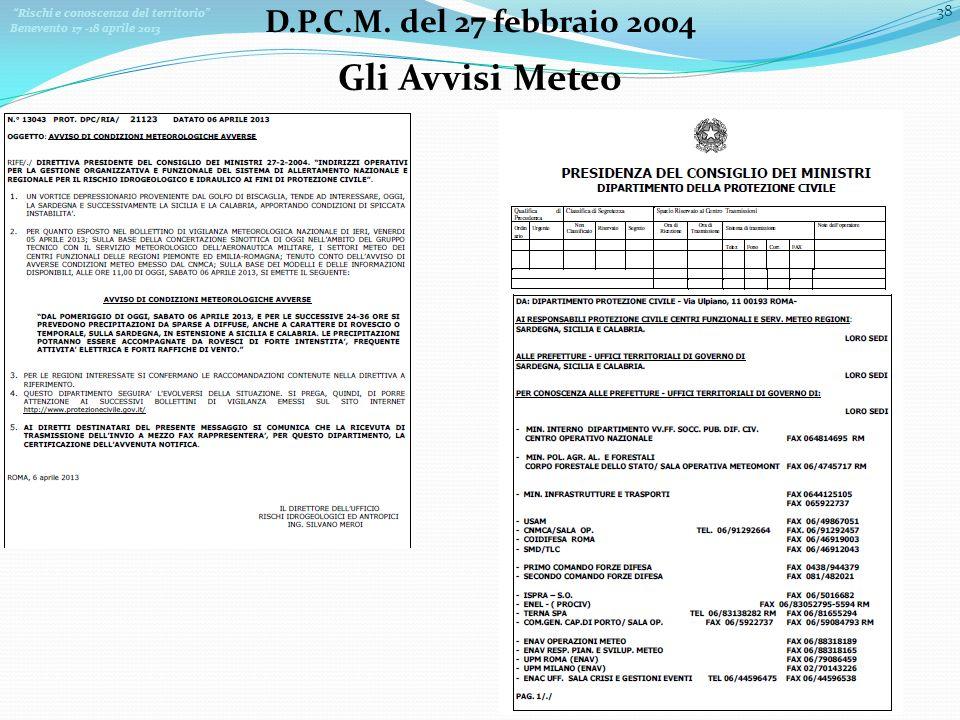 Gli Avvisi Meteo D.P.C.M. del 27 febbraio 2004