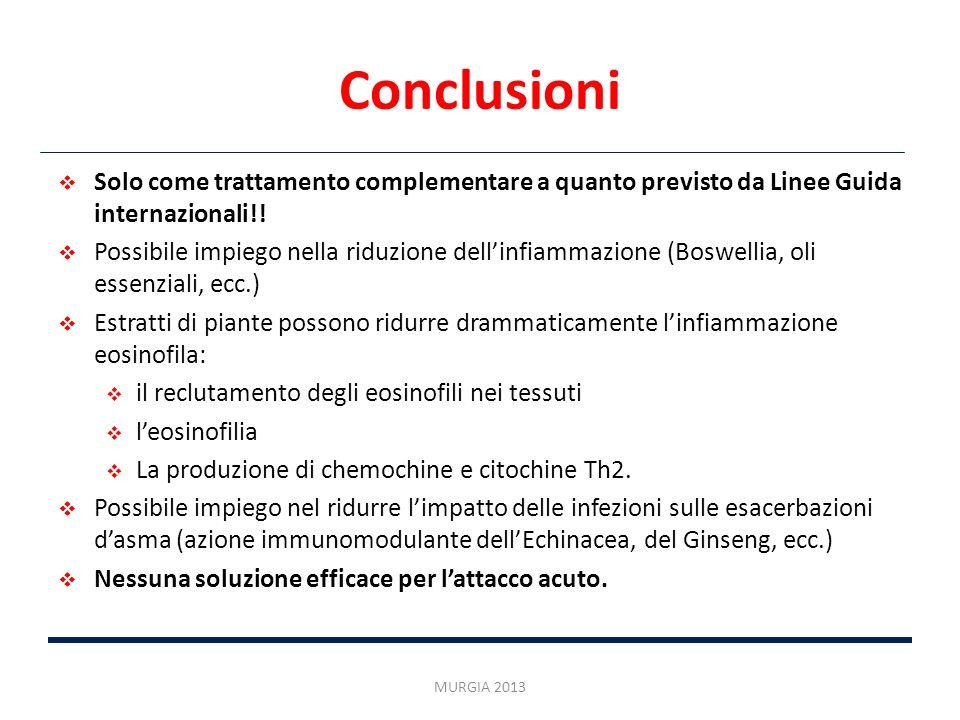 Conclusioni Solo come trattamento complementare a quanto previsto da Linee Guida internazionali!!