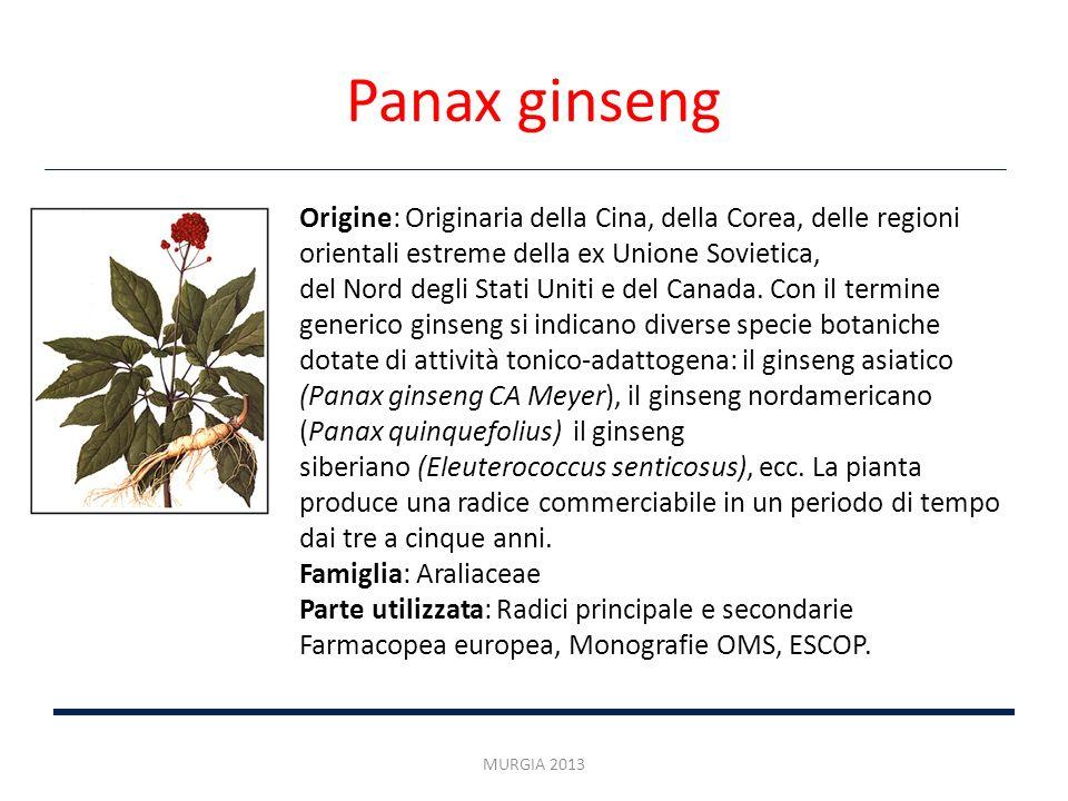 Panax ginseng Origine: Originaria della Cina, della Corea, delle regioni orientali estreme della ex Unione Sovietica,