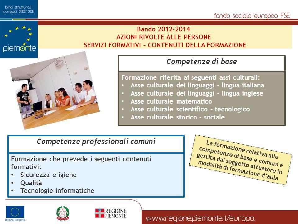 Competenze di base Competenze professionali comuni