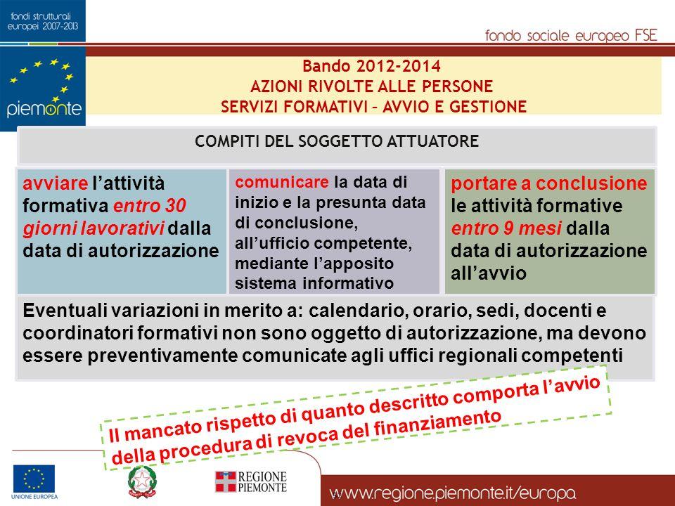 Bando 2012-2014 AZIONI RIVOLTE ALLE PERSONE. SERVIZI FORMATIVI – AVVIO E GESTIONE. COMPITI DEL SOGGETTO ATTUATORE.
