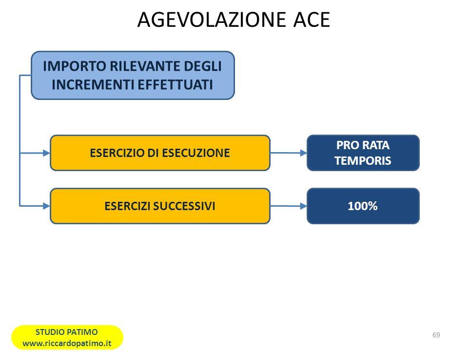 AGEVOLAZIONE ACE IMPORTO RILEVANTE DEGLI INCREMENTI EFFETTUATI