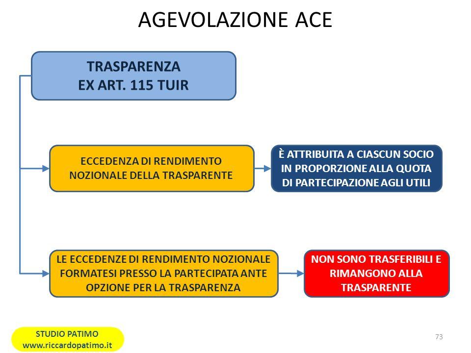 AGEVOLAZIONE ACE TRASPARENZA EX ART. 115 TUIR