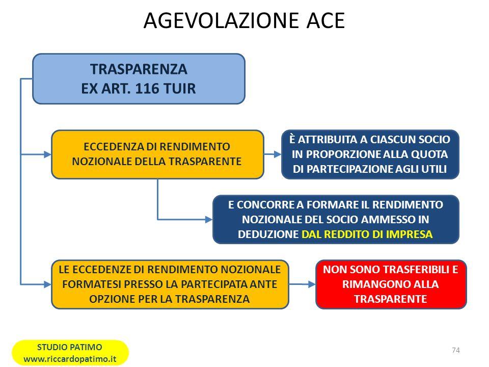 AGEVOLAZIONE ACE TRASPARENZA EX ART. 116 TUIR