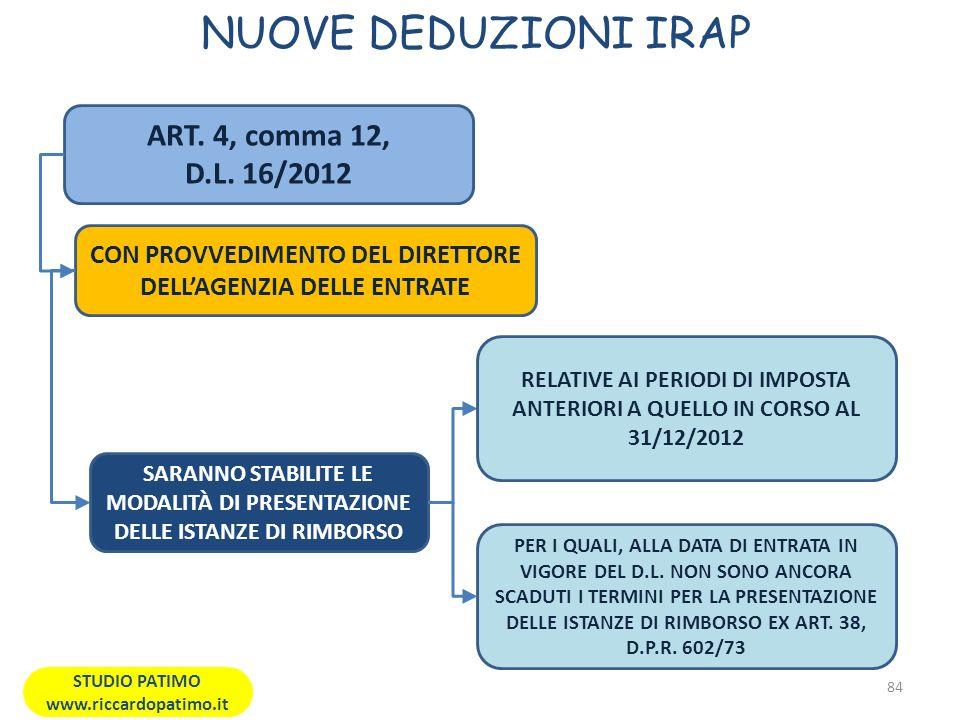 NUOVE DEDUZIONI IRAP ART. 4, comma 12, D.L. 16/2012
