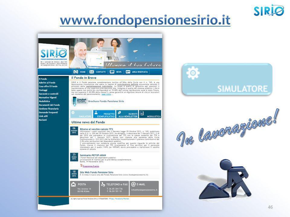 www.fondopensionesirio.it In lavorazione!