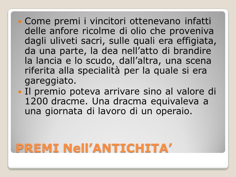 PREMI Nell'ANTICHITA'