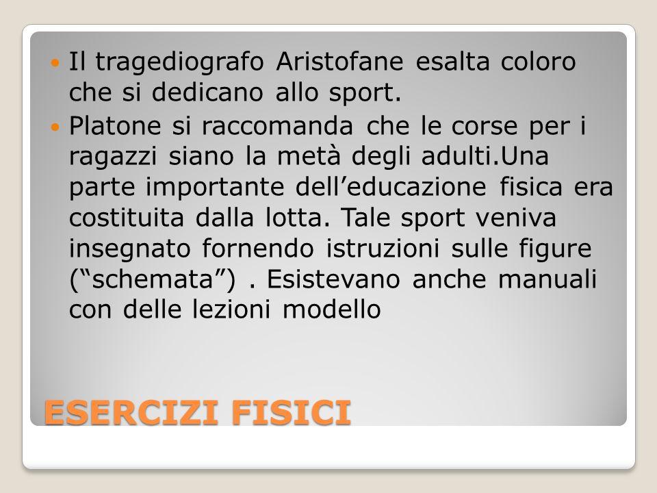 Il tragediografo Aristofane esalta coloro che si dedicano allo sport.