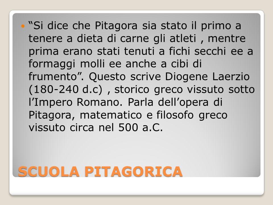 Si dice che Pitagora sia stato il primo a tenere a dieta di carne gli atleti , mentre prima erano stati tenuti a fichi secchi ee a formaggi molli ee anche a cibi di frumento . Questo scrive Diogene Laerzio (180-240 d.c) , storico greco vissuto sotto l'Impero Romano. Parla dell'opera di Pitagora, matematico e filosofo greco vissuto circa nel 500 a.C.