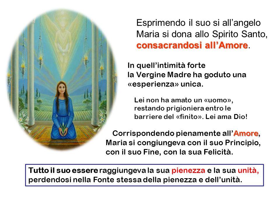 Esprimendo il suo si all'angelo Maria si dona allo Spirito Santo,