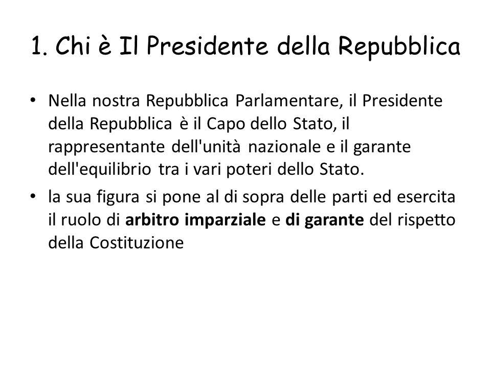 1. Chi è Il Presidente della Repubblica
