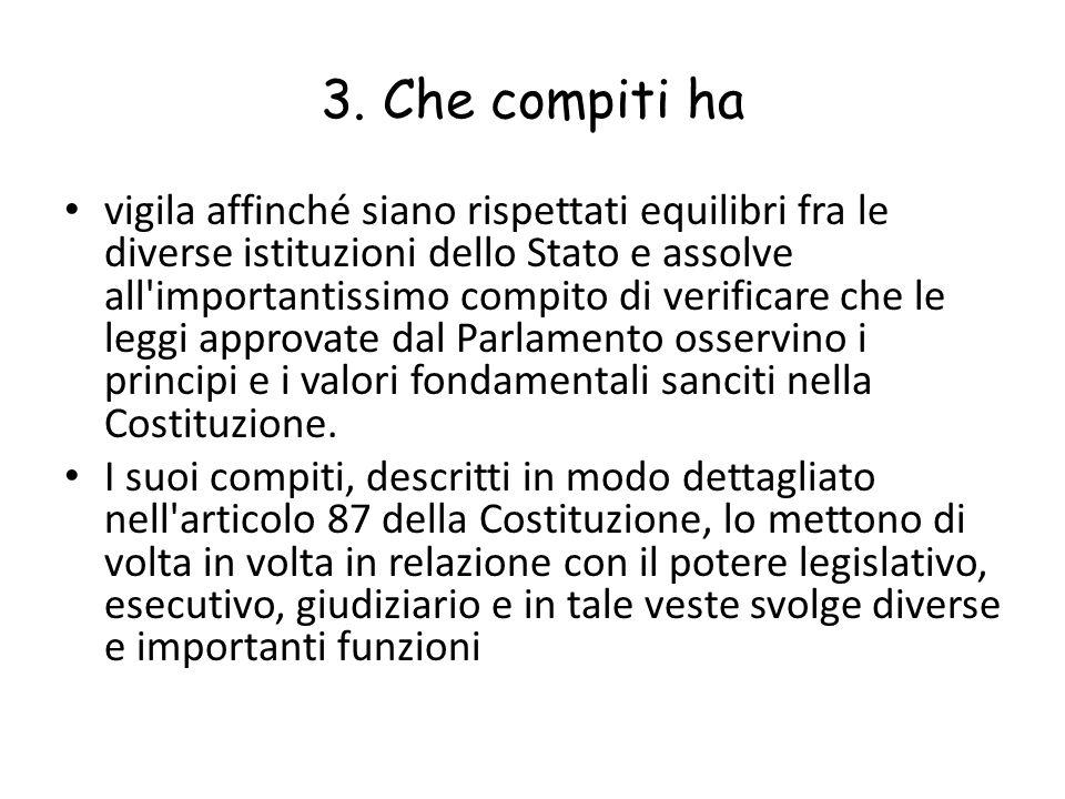 3. Che compiti ha