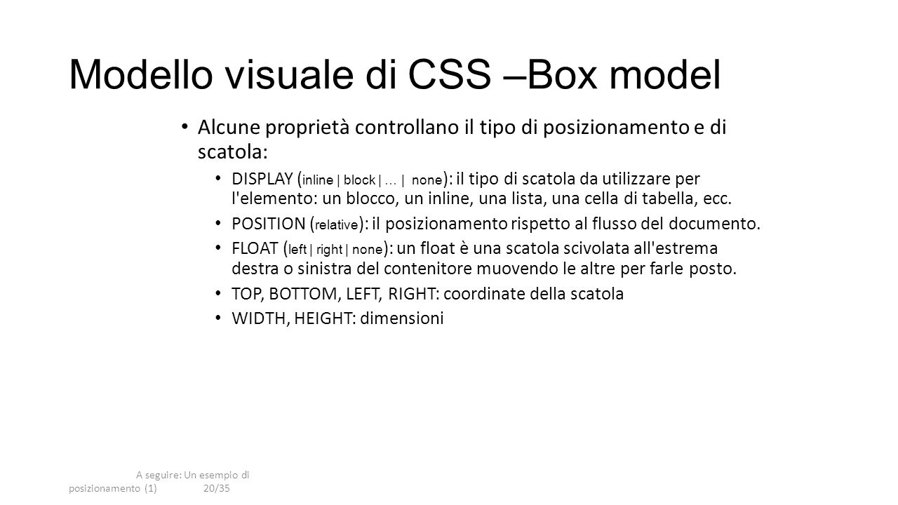 Modello visuale di CSS –Box model