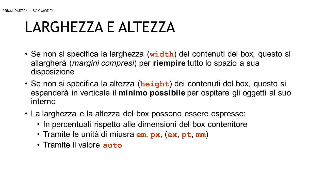 PRIMA PARTE: IL BOX MODEL