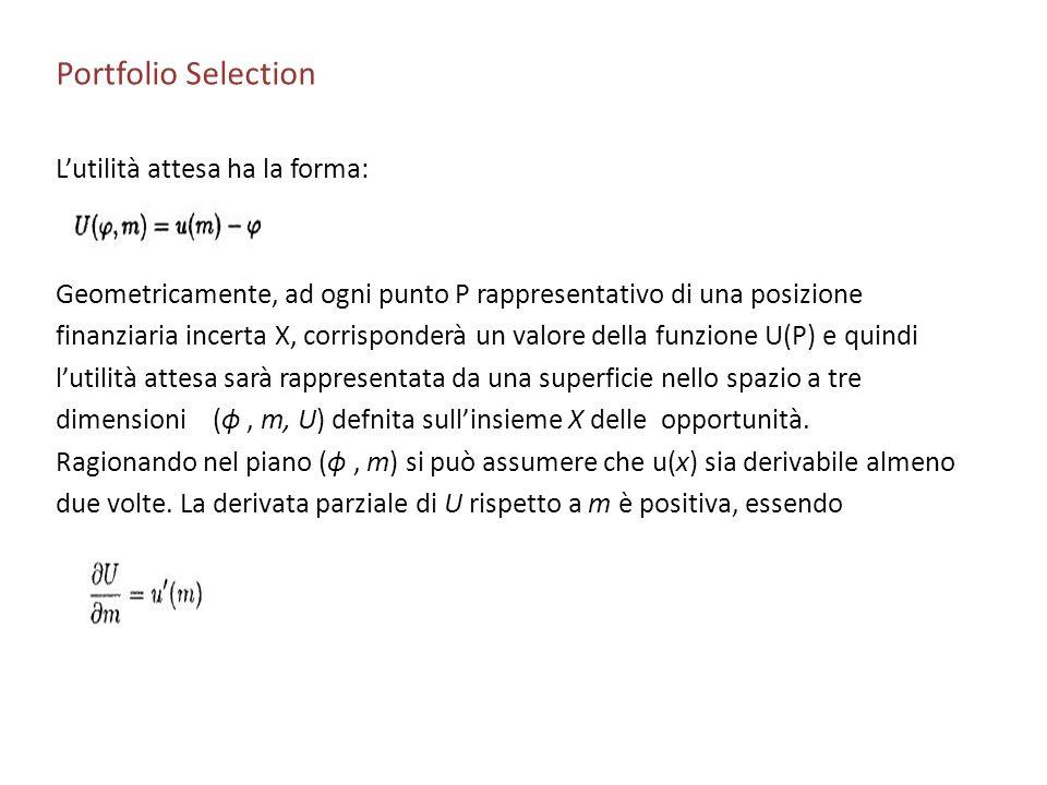 Portfolio Selection L'utilità attesa ha la forma: