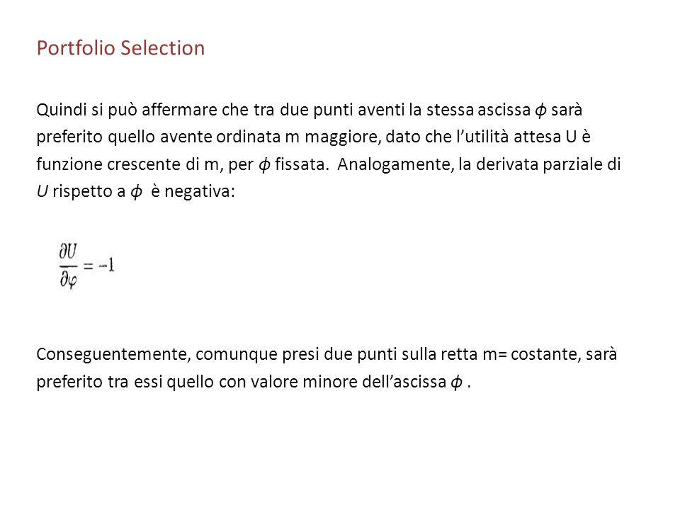 Portfolio Selection Quindi si può affermare che tra due punti aventi la stessa ascissa ϕ sarà.