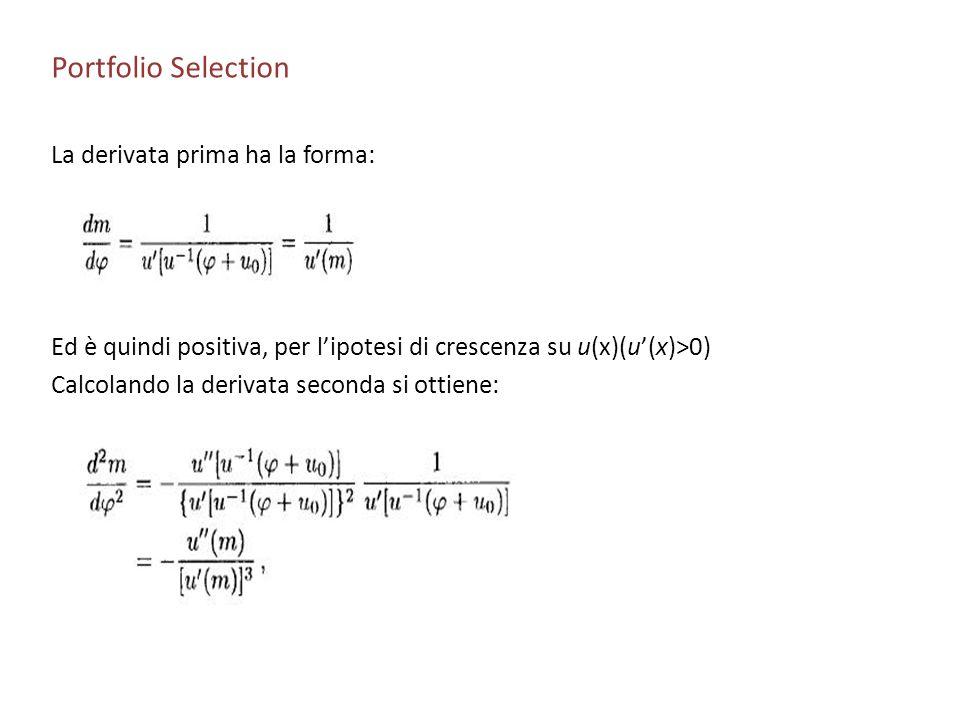 Portfolio Selection La derivata prima ha la forma: