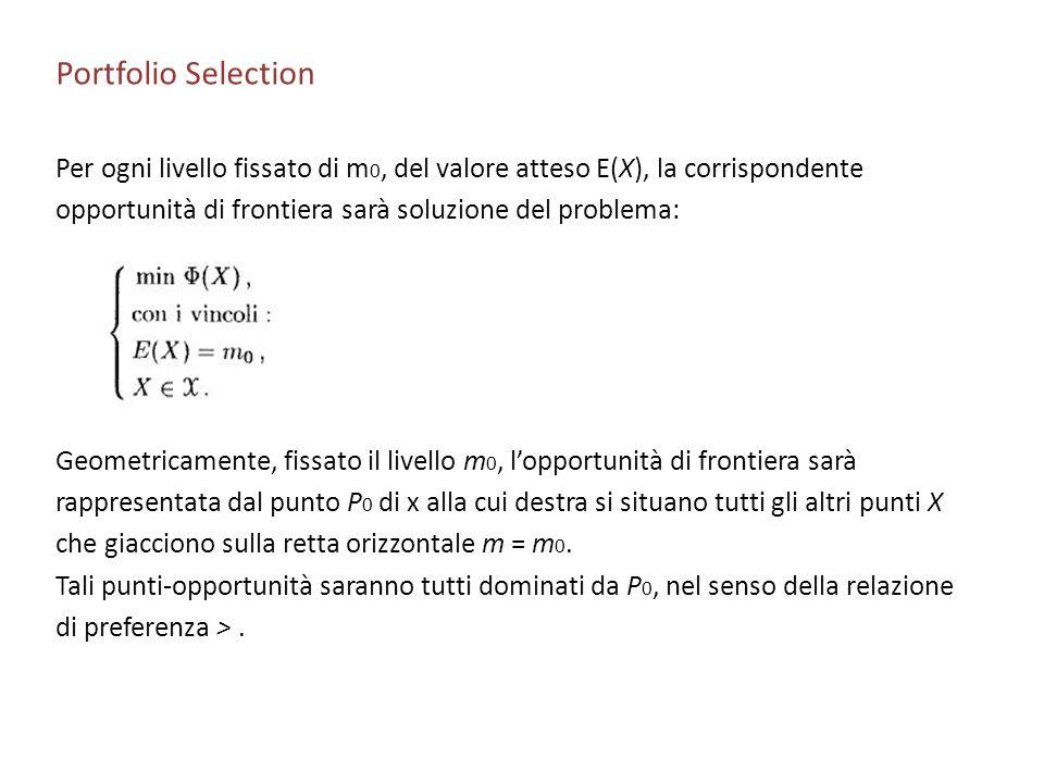 Portfolio Selection Per ogni livello fissato di m0, del valore atteso E(X), la corrispondente. opportunità di frontiera sarà soluzione del problema: