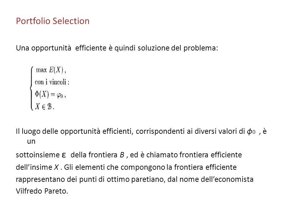 Portfolio Selection Una opportunità efficiente è quindi soluzione del problema: