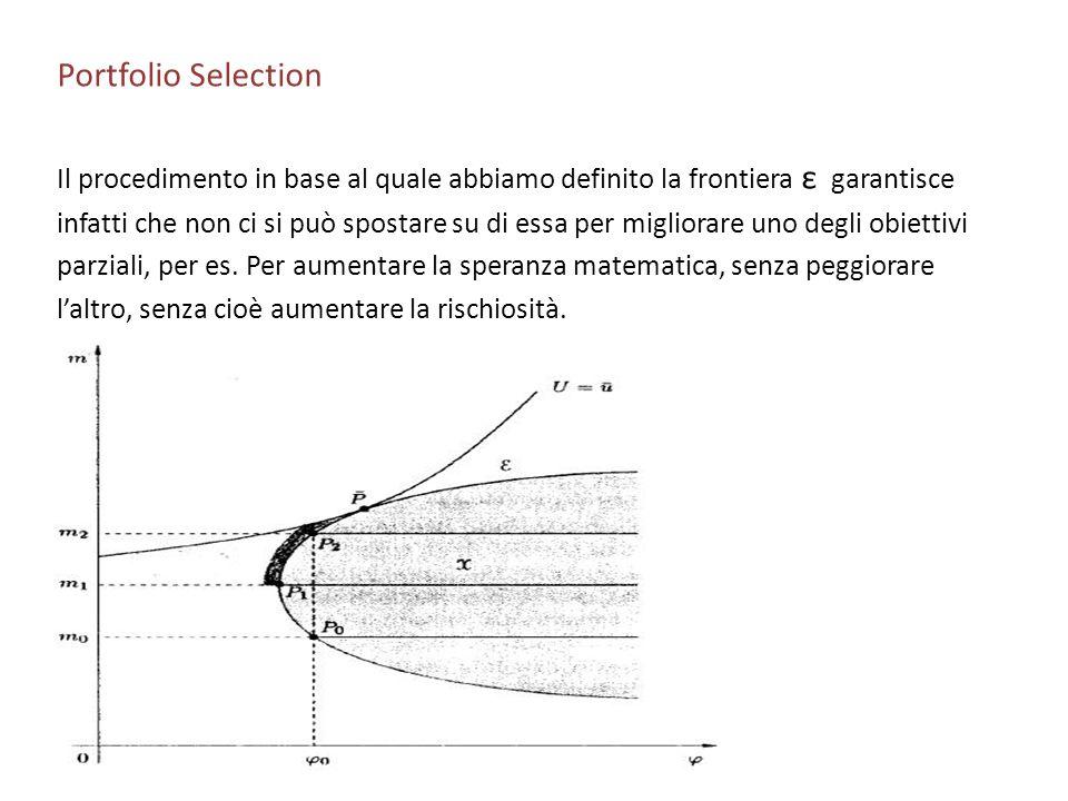 Portfolio Selection Il procedimento in base al quale abbiamo definito la frontiera ε garantisce.