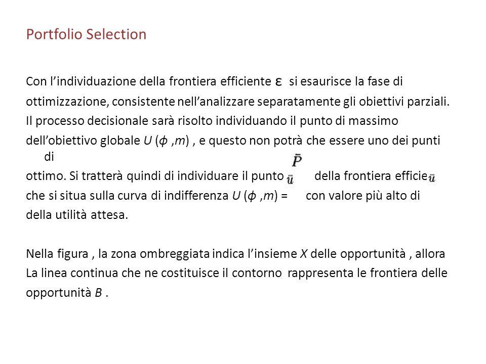 Portfolio Selection Con l'individuazione della frontiera efficiente ε si esaurisce la fase di.