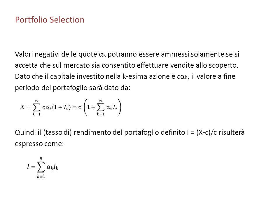 Portfolio Selection Valori negativi delle quote αk potranno essere ammessi solamente se si.